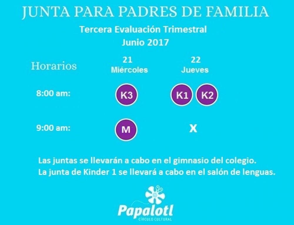 JUNTA TRIMESTRAL  KINDER PARA PADRES DE FAMILIA
