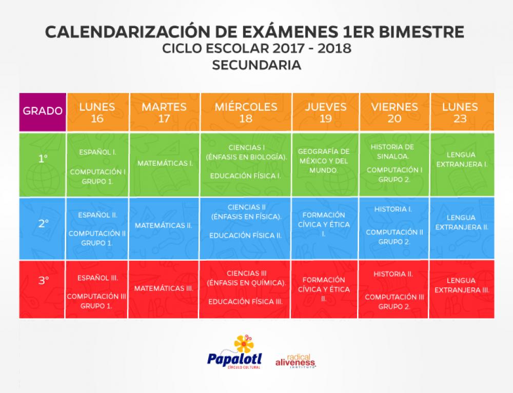 CALENDARIZACIÓN DE EXÁMENES PRIMER BIMESTRE SECUNDARIA