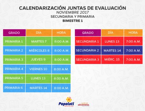 Calendarización juntas de evaluación