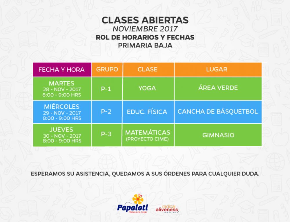 CLASES ABIERTAS PRIMARIA BAJA