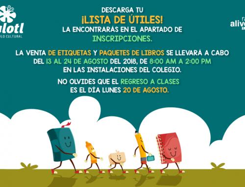 05/08/18 LISTA DE ÚTILES Y VENTA DE LIBROS
