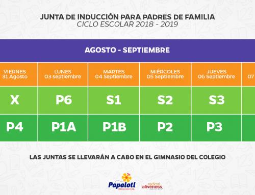 28/08/2018 JUNTAS DE INDUCCIÓN PRIMARIA Y SECUNDARIA