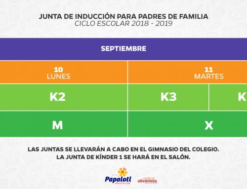 05/09/2018 JUNTAS DE INDUCCIÓN KÍNDER Y MATERNAL